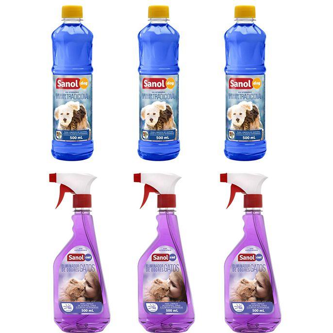 Kit com 3 Desodorizador Limpador de ambientes Sanol Tradicional + 3 Eliminador de Odores de Gatos Sanol Anti odores Spray 500ml