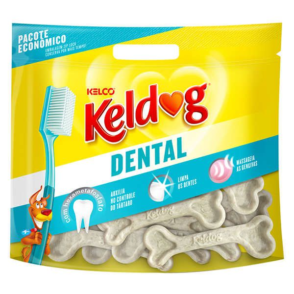 Combo 3 Ossinho para Cães Keldog Dental Francês 350g - controle de tártaro, hálito e higiene Bucal para cachorro
