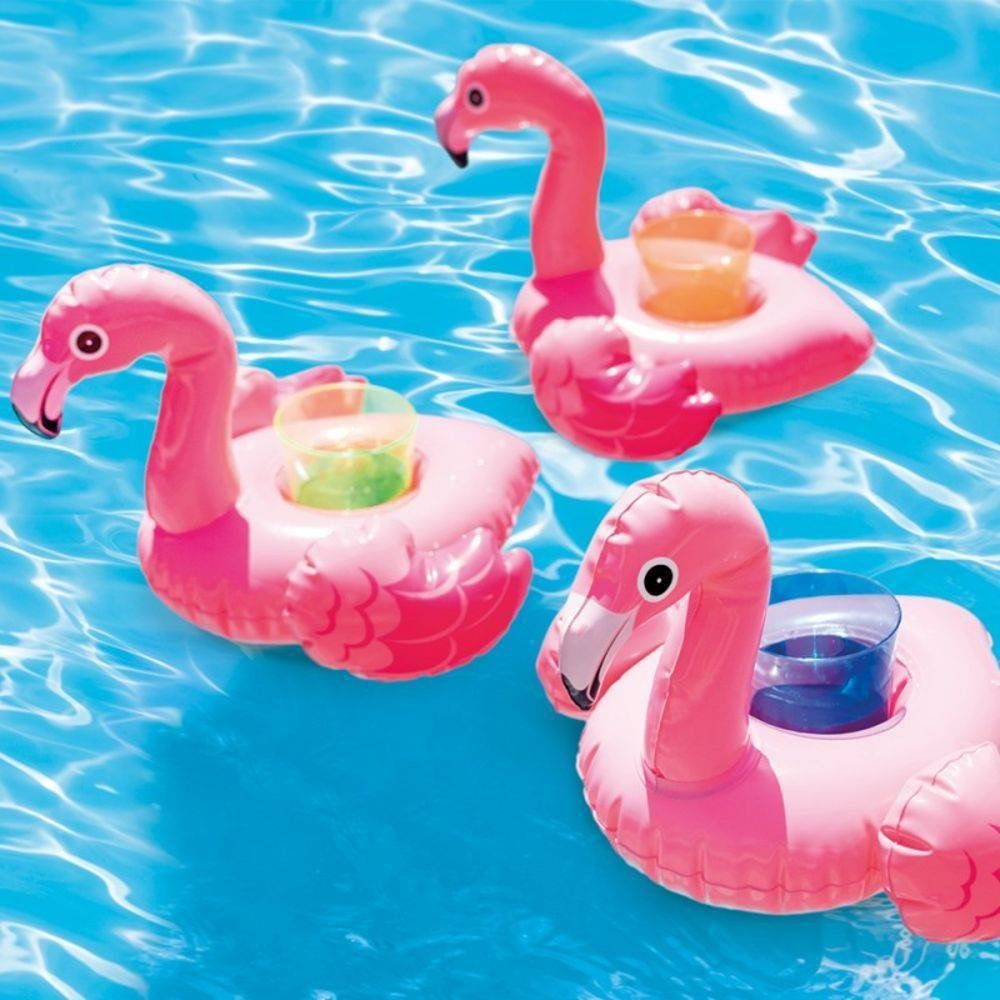 Kit com 3 porta copo Flamingo inflável piscina mar - Drink Holders Intex 33x25cm Flamingo
