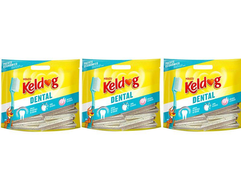 Combo 3 un Ossinho para cães Keldog Dental Y 350g - Osso para cachorro Dental Y controle de tártaro, hálito e higiene Bucal
