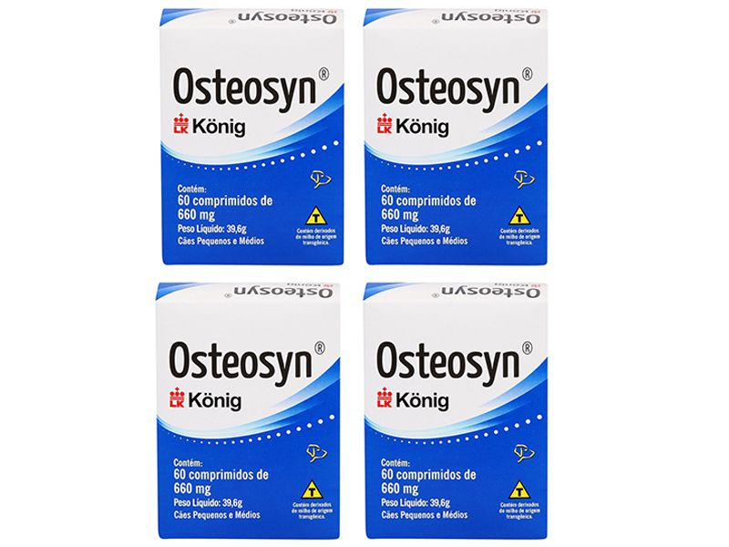 Kit com 4 unidades Suplemento Alimentar Cães Osteosyn Condroprotetor e Regenerador Osteo-Articular Condroitina Konig 60 comprimidos 660mg