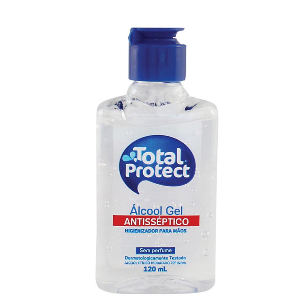 Kit com 6 Álcool em Gel 70° Antibactericida Total Protect 120ml Mata 99,9% das bactérias