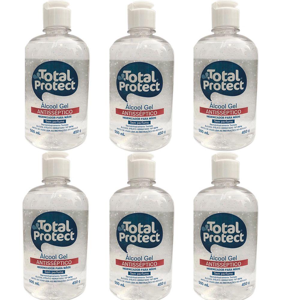 Kit com 6 Álcool em Gel 70° ANtibactericida Total Protect 500ml Mata 99,9% das bactérias