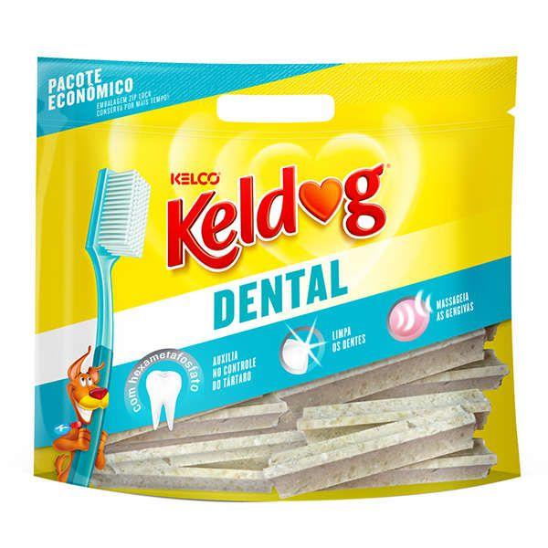 Combo 6 Ossinho Cães Keldog Dental: 3 Pacotes Francês  e 3 Pacotes Y 350g cada controle de tártaro, hálito e higiene Bucal cachorros