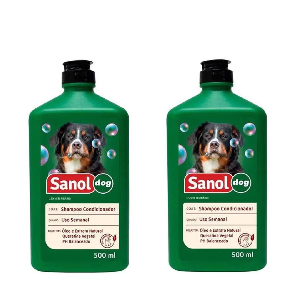 Kit com Dois Shampoo e condicionador 2 em 1 Sanol Dog 500ml