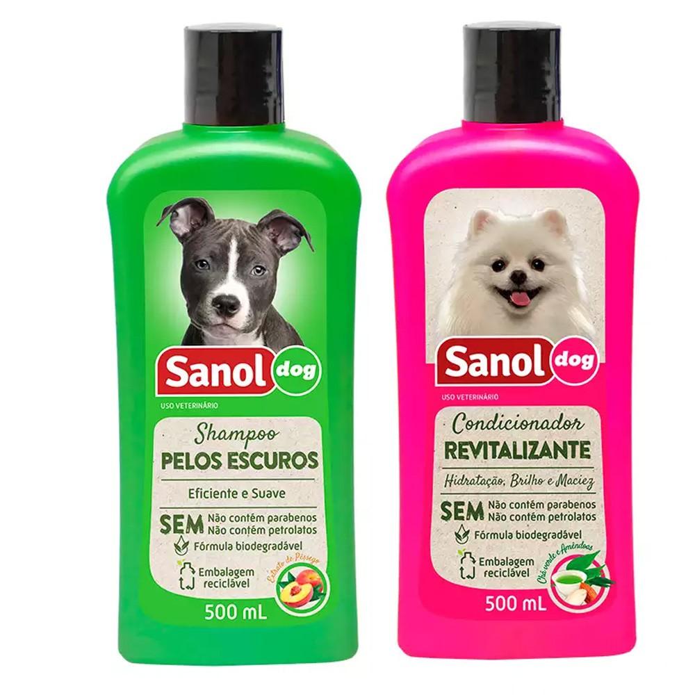 Kit Combo para banho em cães: Shampoo pelos escuros e Condicionador Revitalizante Sanol Dog