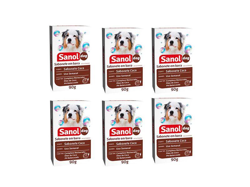 Kit de 6 sabonetes para cachorro e gato Sabonete de Coco Sanol Complexo restaurador com óleo de coco