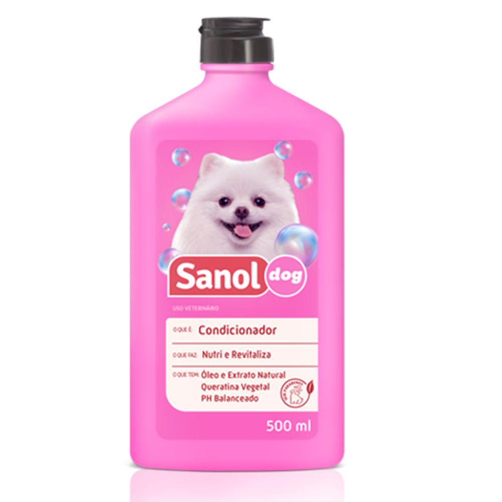 Kit de banho para cachorro: Shampoo Pelos Claros e Condicionador Revitalizante cães Sanol