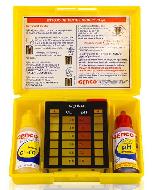 Kit de Limpeza e Manutenção de água de piscina: Cloro Genco 1Kg, Ph Mais 1L, Floculante Clarificante Genfloc 1L, Estojo de Análise Cloro e Ph Genco