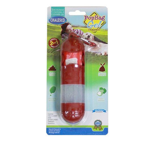 Kit Higiene para Coleiras (cata caca) Chalesco 1 Porta Saquinho, 20 sacolinhas coletora de fezes e alcool em gel para mãos