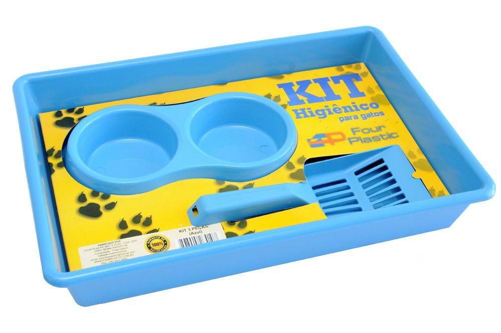 Kit Higiênico para Gatos Bandeja (caixa) para areia + pá coletora + comedouro (bebedouro) duplo