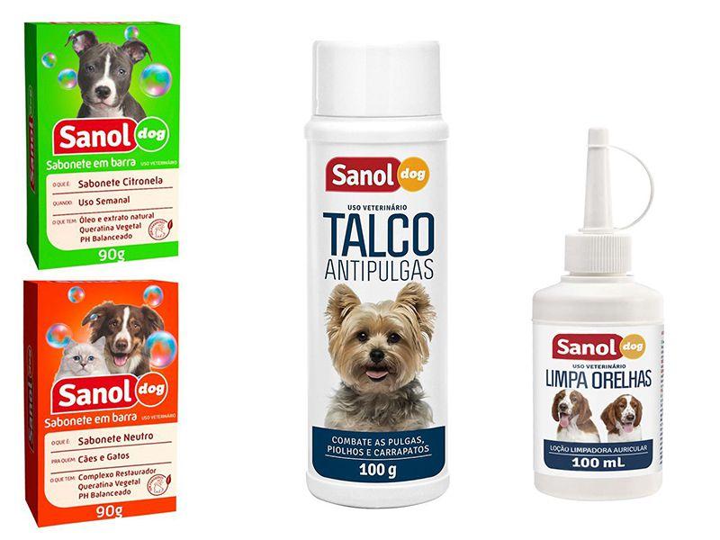 Kit para banho em Cães: 1 Sabonete Citronela + 1 Sabonete Neutro + 1 Talco Antipulgas + 1 Limpa Orelhas Sanol