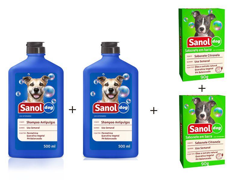 Kit para banho em Cães Anti Pulgas: 2 un Sabonete em Barra Citronela + 2 un Shampoo Anti Pulgas Sanol