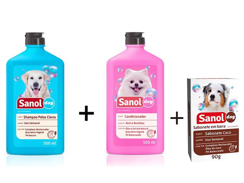 Kit para banho em Cães: Sabonete em Barra Coco + Shampoo Pelos Claros + Condicionador Revitalizante Sanol