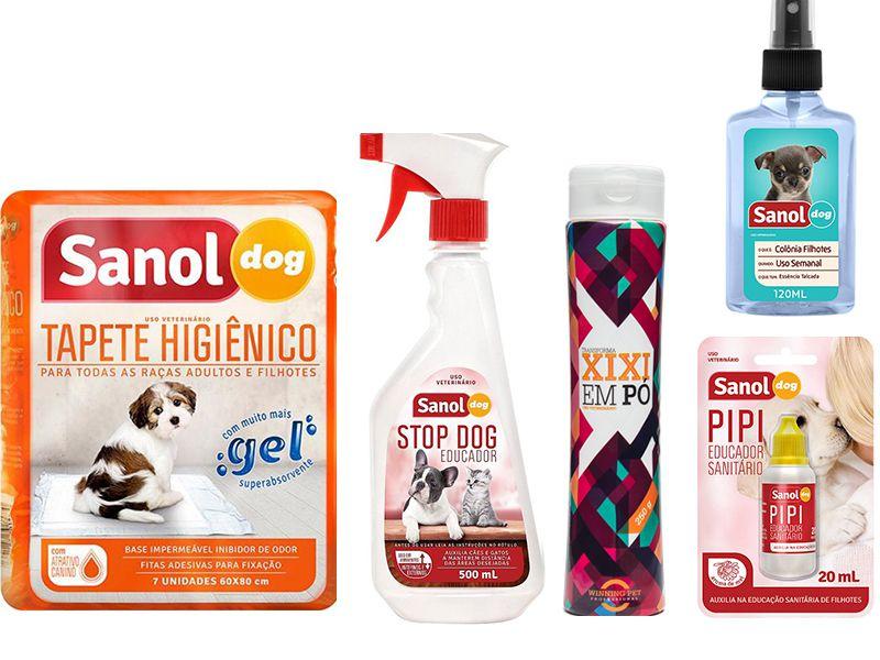Kit para cães: Tapete Higiênico 7un, Stop Dog, Pipi Pode, Seca Xixi (Transforma xixi em pó) e Colônia Sanol Baby