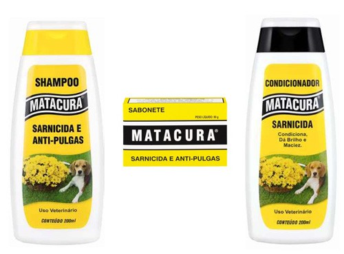 Kit Antibacteriano Sarnicida Antipulgas para cães:  Shampoo, Condicionador e sabonete Matacura anti pulgas e sarnicida