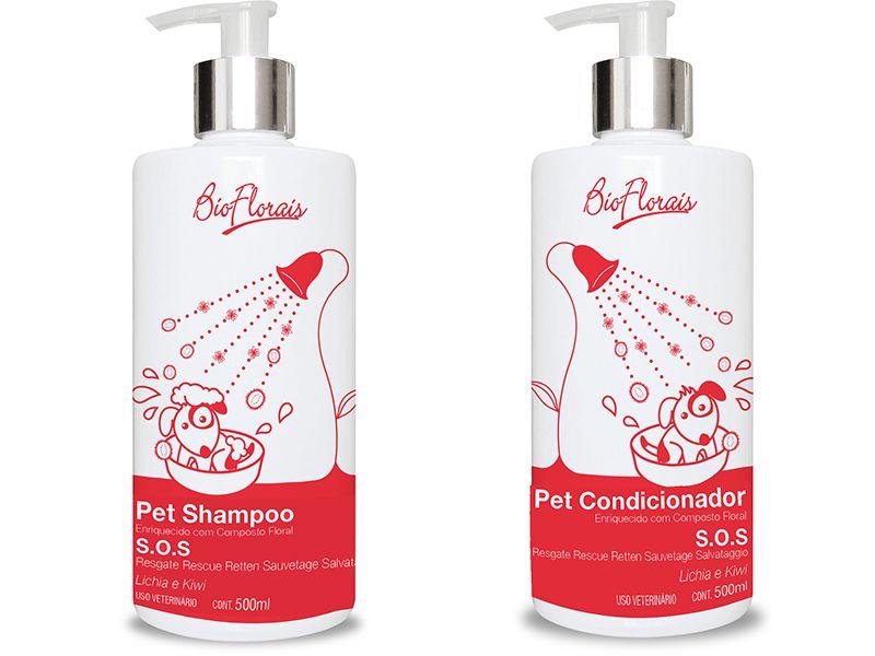 Kit Banho pet Tratamento Floral Emergência SOS Resgate Cães e Gatos Shampoo Condicionador