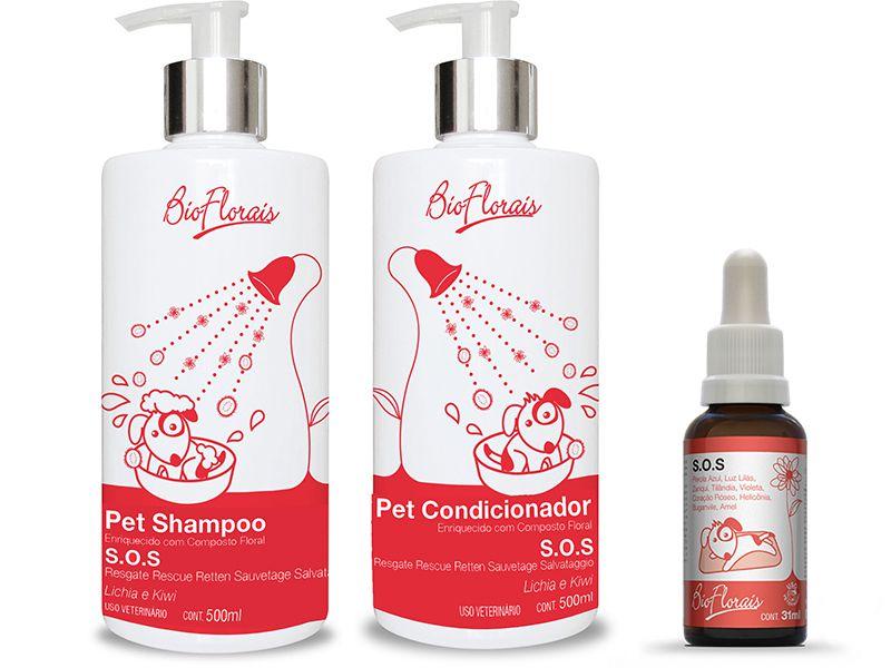 Kit Tratamento Floral Emergência SOS Resgate Cães e Gatos Shampoo Condicionador Floral Veterinário