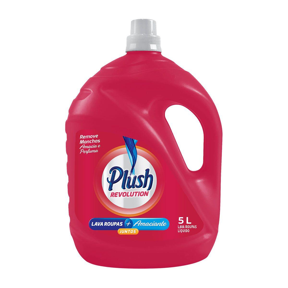 Lava Roupas Sabão Liquido com amaciante de roupas para limpeza profunda Plush Revolution 5 Litros