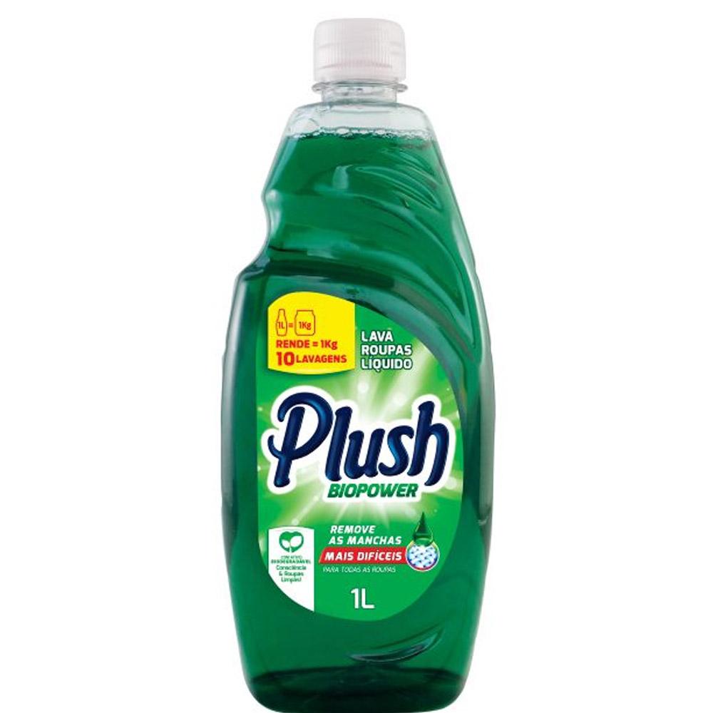 Lava Roupas Sabão Liquido para limpeza profunda de roupas Plush Biopower 1 L