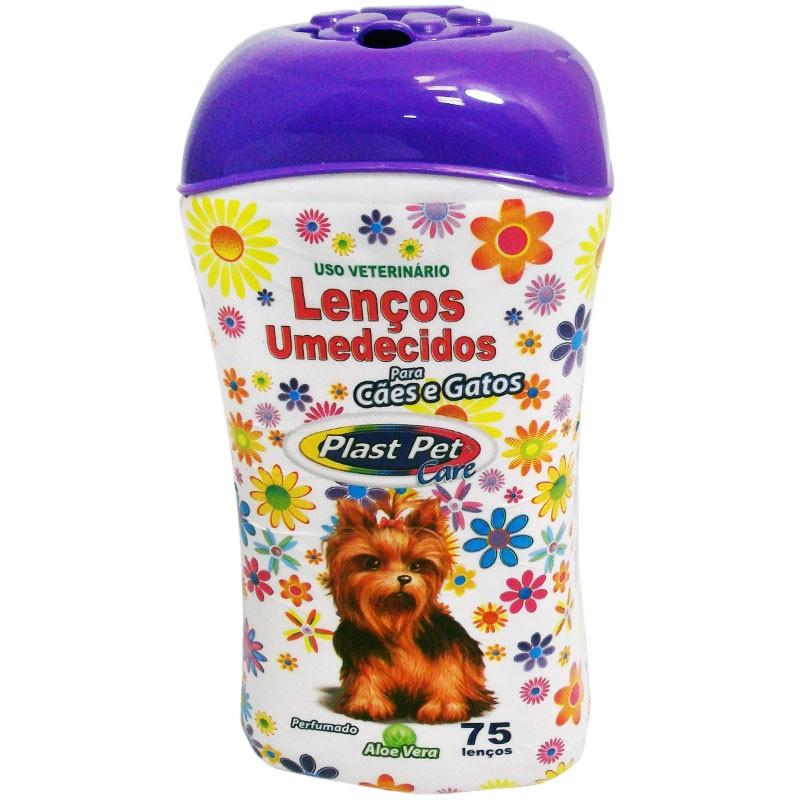Lenços Umedecidos Para Cães E Gatos - 75 Unidades Plastpet
