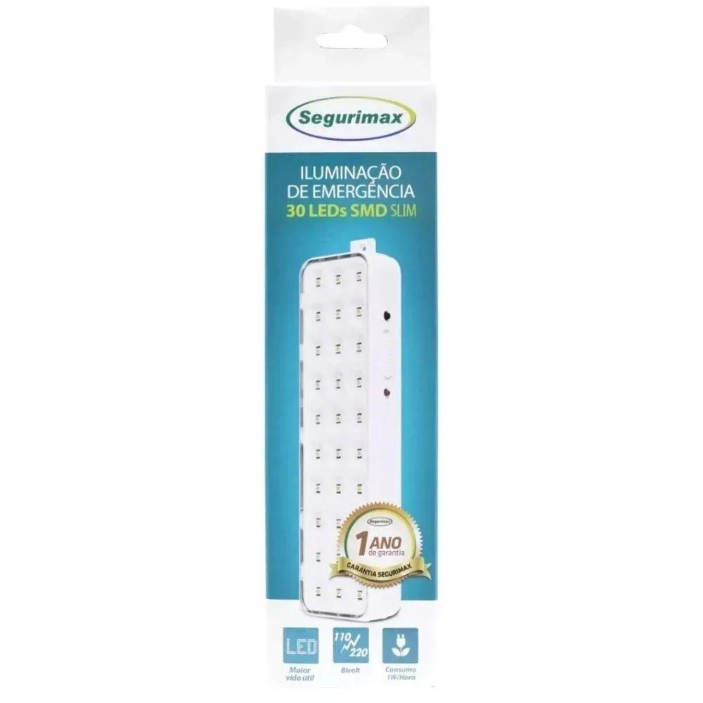 Luminária Luz de Emergência 30 Leds Recarregável Bivolt Segurimax - Iluminação de Emergência Slim