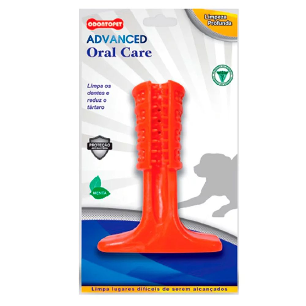 Mordedor Escova de Dente para cachorro Advanced Cães Oral Care Odontopet Media Vermelha