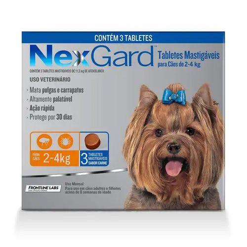 NexGard Mata Pulgas e Carrapatos P 2 a 4kg com 3 Tabletes