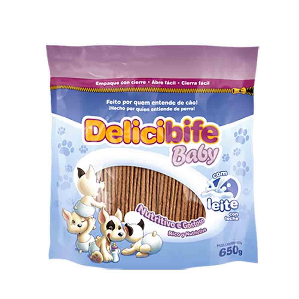 Bifinho Ossinho Flexível Petisco para Cachorros filhotes Delicibife Baby com Leite 650g
