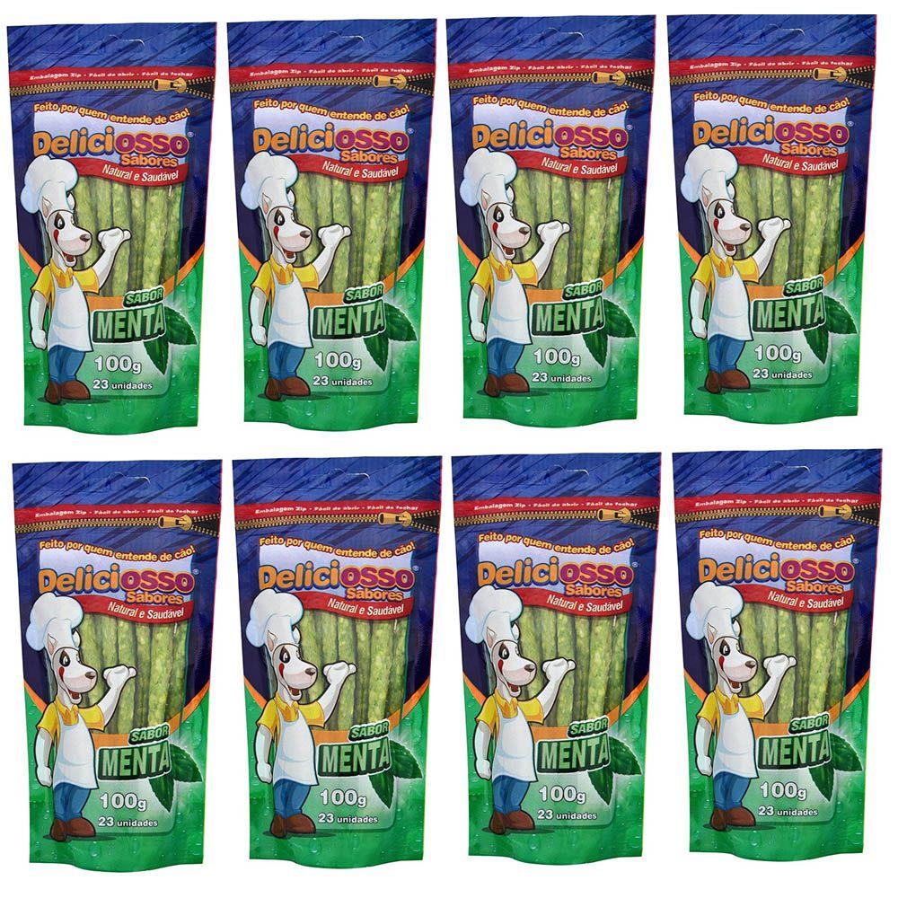 Combo Petisco Palitinho Ossinho Para Cães Deliciosso Palito Fino Menta - 8 Pacotes