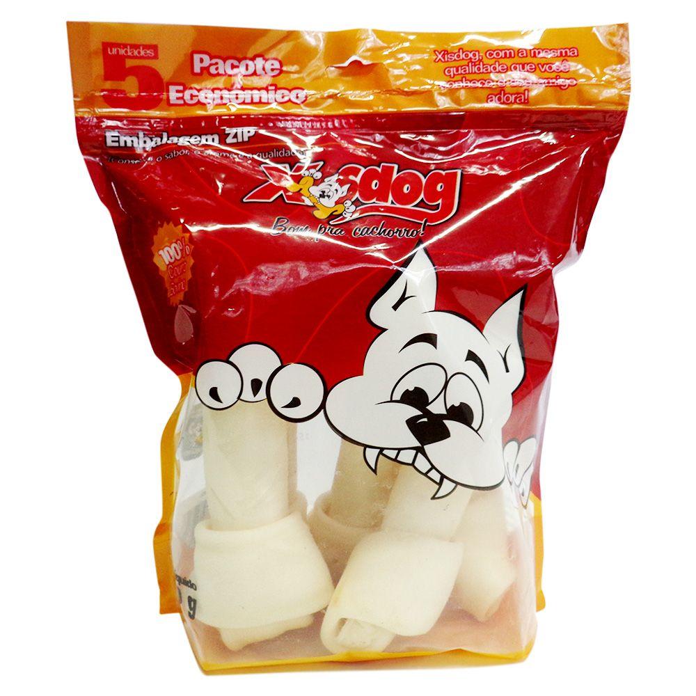 Bag Xisdog Osso Para Cachorro Porte grande Pacote Com Osso formato em nó duplo 5 Unidades - 800g