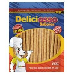 Osso para caes Deliciosso Palito fino Ossinho para cachorro Sabor Salmão - 200g