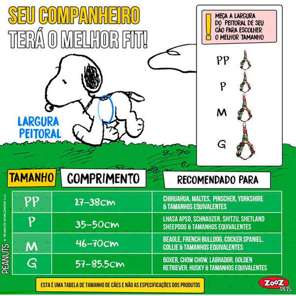 Peitoral para cachorro Snoopy Joe Cool Quadrinhos Zooz Pets
