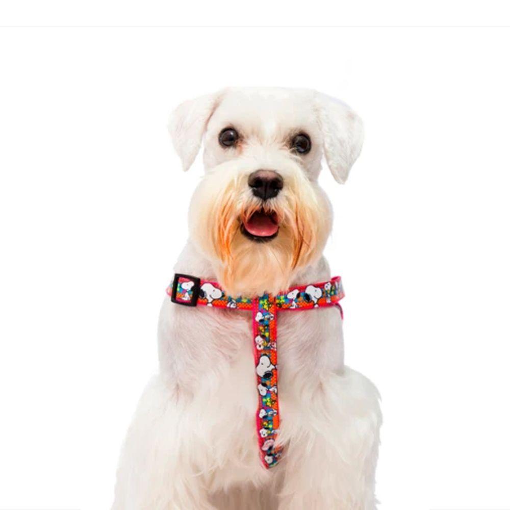 Peitoral para cachorro Snoopy Pink Unix tamanho M Ajustável 46 - 70cm Zooz Pets