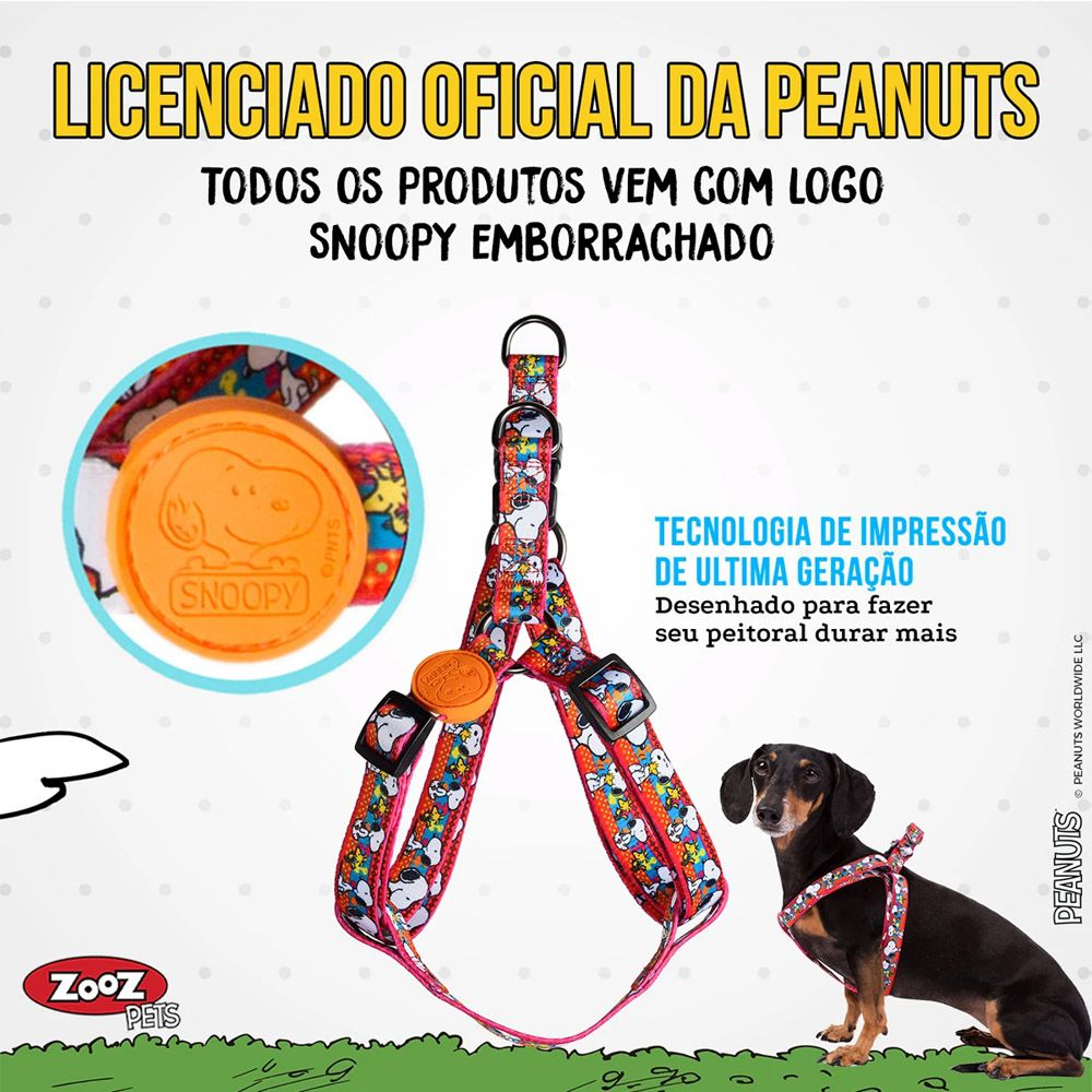 Peitoral para cachorro Snoopy Pink Unix tamanho P Ajustável 35 - 50cm Zooz Pets