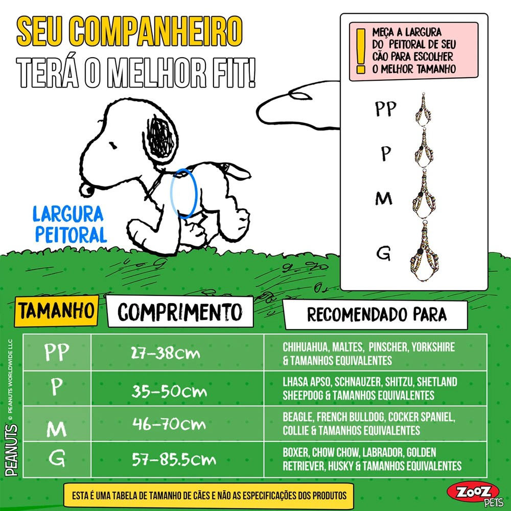 Peitoral para cachorro Snoopy Stripe quadrinhos coloridos ZoozPets tamanho P (Ajusta 35-50cm)