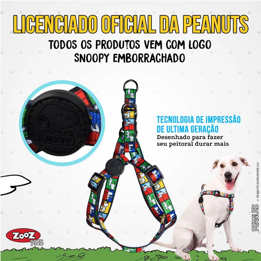 Peitoral para cachorro Zooz Pets Snoopy Film Color Quadrinhos tamanho M (Ajustável 45 - 65cm)