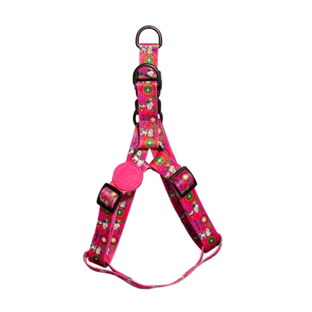 Peitoral para cachorro Zooz Pets Snoopy Pink Flower tamanho P (Ajustável 35 - 45cm)