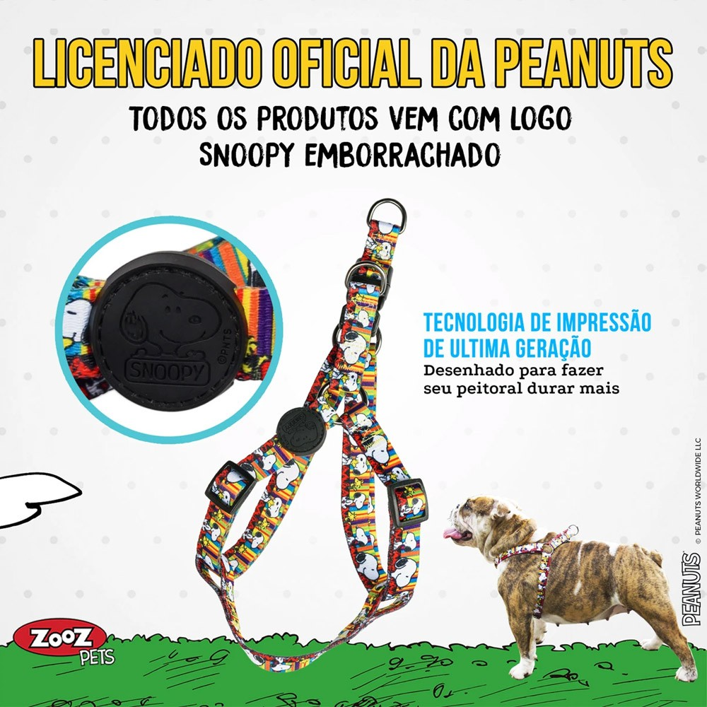 Peitoral para cachorro Zooz Pets Snoopy Stripe Tirinha quadrinhos coloridos tamanho M (Ajusta 45 - 65cm)