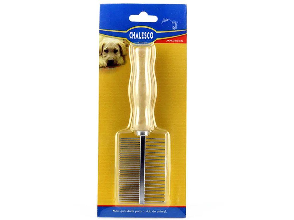Pente Duplo para cães e gatos Chalesco - Dentes em metal e cabo de madeira