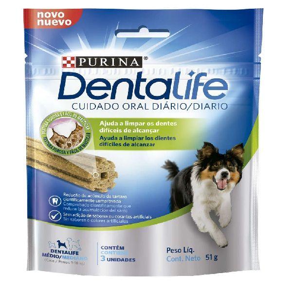 Petisco para cachorro limpar os dentes Dentalife Purina 3un 51g