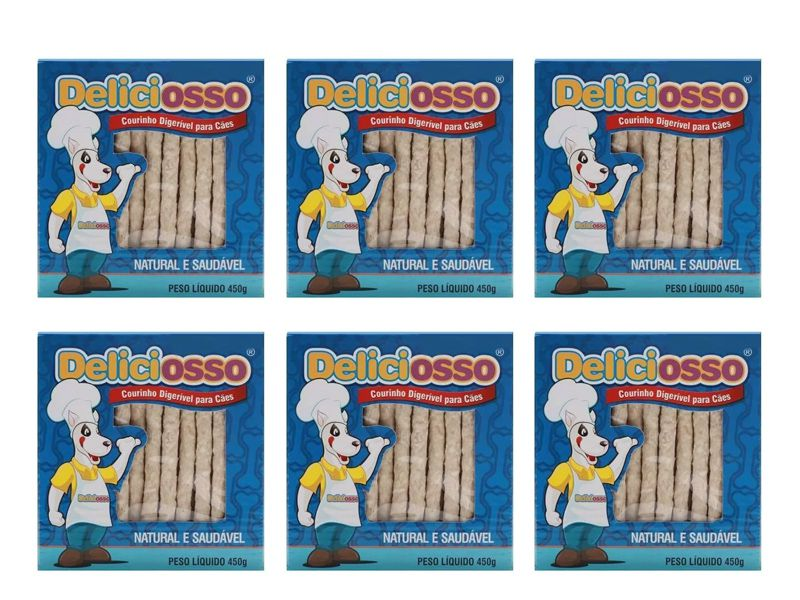 Petisco para cachorro Ossinho palito mastigável Deliciosso Palito Fino 6 caixas de 450g cada
