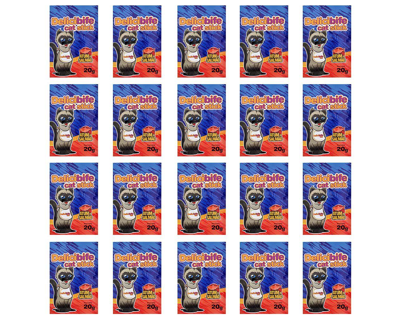 Petisco para gatos Delicibife Palitinho Atum e Salmão Gatos Adultos e Filhotes caixa 20un