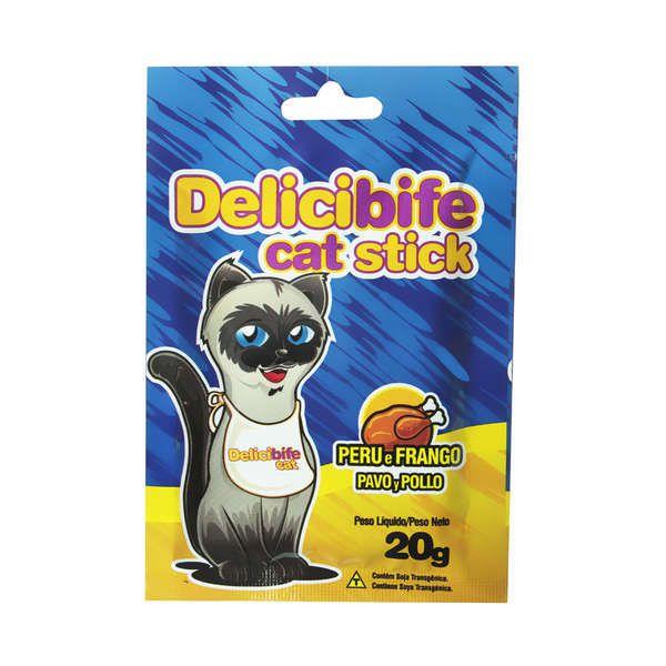 Petisco para gatos Delicibife Palitinho Peru e Frango Gatos Adultos e Filhotes caixa 20un