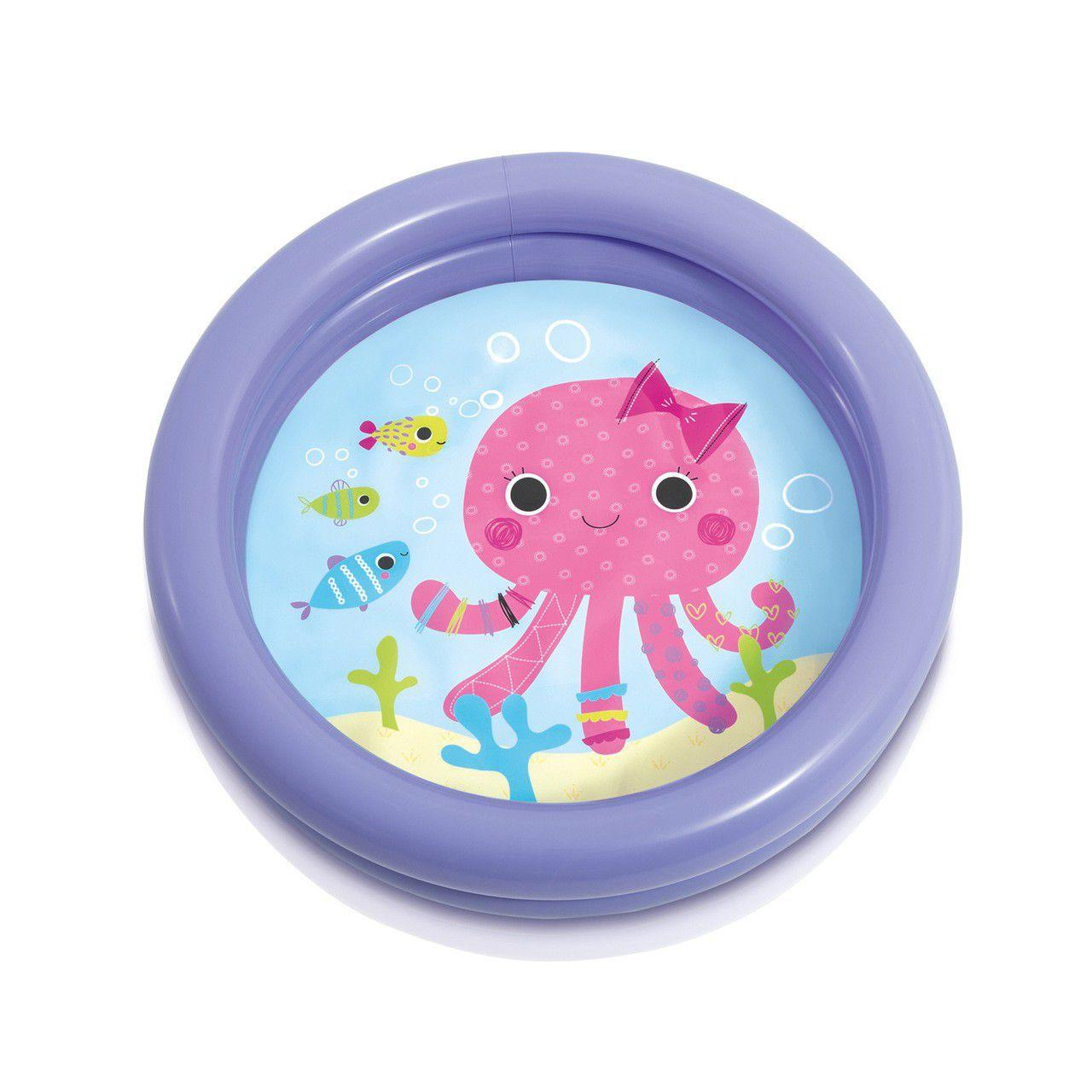 Piscina banheira infantil Intex 61cm x 15cm 17 litros Polvo com borda roxa até 3 anos