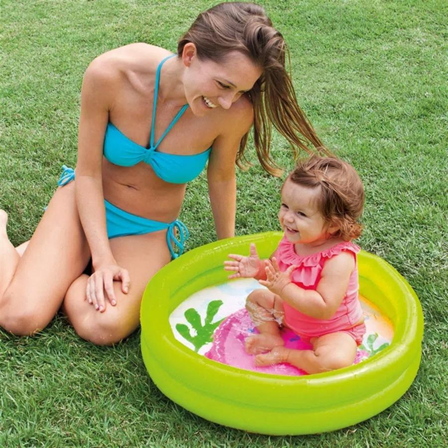 Piscina banheira infantil Intex 61cm x 15cm 17 litros Ursinho com borda Verde até 3 anos