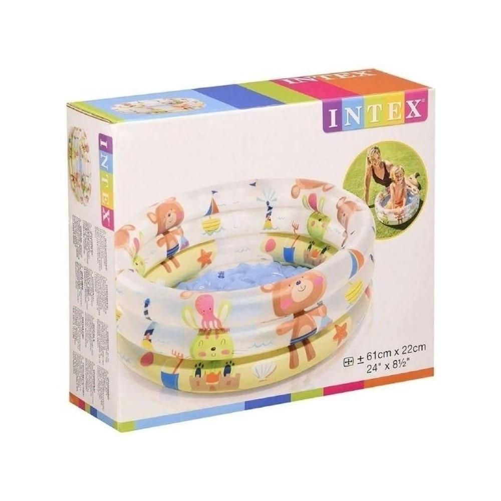 Piscina banheira para Bebê Bichinhos Intex 61cmx22cm 28 Litros - Bordas e Fundo inflável 57106