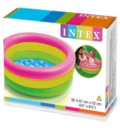 Piscina Inflável banheira para Bebê Colorida Intex 61cm x 22cm 28 Litros - Bordas e Fundo inflável 57107