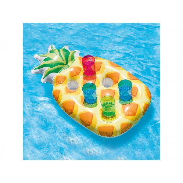 Porta copo inflável 6 compartimentos para piscina mar Modelo Abacaxi - Drink Holders Intex 97x58cm Abacaxi para até 6 copos