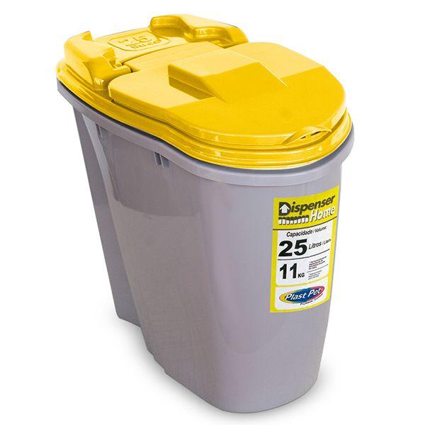 Porta Ração Compartimento Armazenador de ração Dispenser Home Plast Pet 25L  - Amarelo
